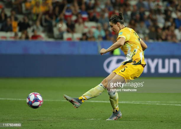 Emily Gielnik of Australia misses her team's second penalty in the penalty shoot out during the 2019 FIFA Women's World Cup France Round Of 16 match...