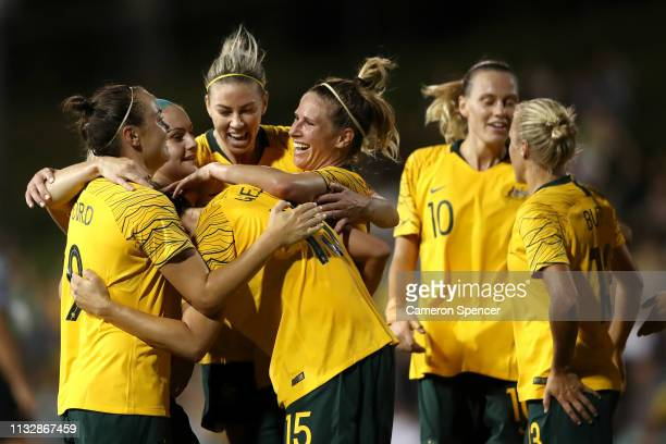 Emily Gielnik of the Matildas celebrates scoring a goal with team mates during the Cup of Nations match between the Australian Matildas and New...