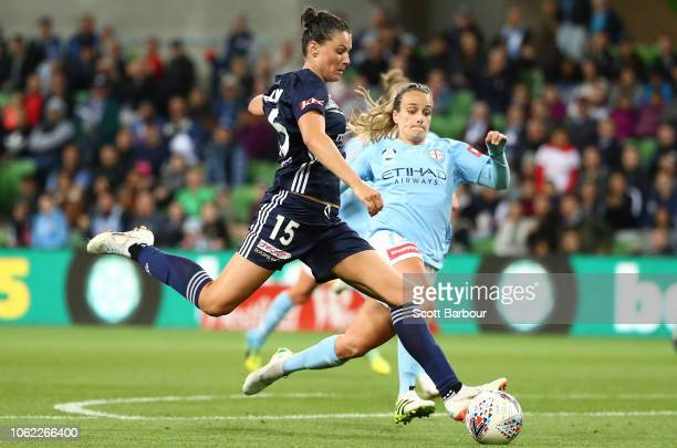 Emily Gielnik of the Victory shoots and scores a goal during the round three WLeague match between Melbourne City and Melbourne Victory at AAMI Park...