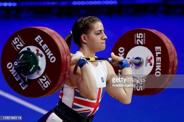 Emily Godley of Britain competes in the Women's 71 kg within the Weightlifting European Championships 2021 in Moscow, Russia on April 07, 2021.