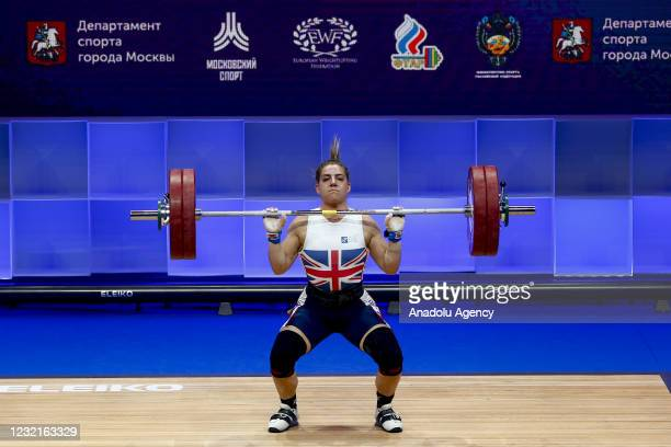 Emily Godley of Britain competes in the Women's 71 kg within the Weightlifting European Championships 2021 in Moscow, Russia on April 07, 2021. Emily...