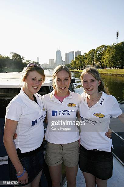 Emily Goodall Dani Christmas and Hannah Brooks take a boat cruise along the Yarra March 22 in Melbourne Australia The girls are part of six Junior...