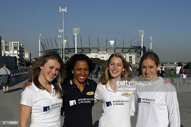 Emily Goodall Hannah Brooks and Dani Christmas pose with Dame Kelly Holmes outside the MCG March 21 Melbourne Australia The girls are part of 6...