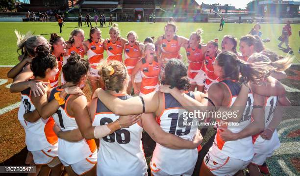 Emily Goodsir of the Giants in the centre of the victory song during the 2020 AFLW Round 06 match between the Adelaide Crows and the GWS Giants at...