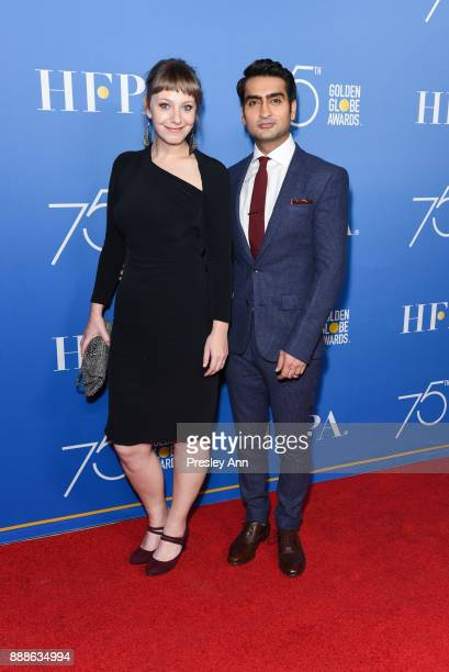 Emily Gordon and Kumail Nanjiani attend Hollywood Foreign Press Association Hosts Annual Holiday Party And Golden Globes 75th Anniversary Special...