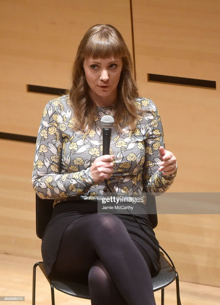 Emily Gordon attends the 55th New York Film Festival - NYFF Live - WGAE On Writing Talk at Elinor Bunin Munroe Film Center on October 12, 2017 in New York City.
