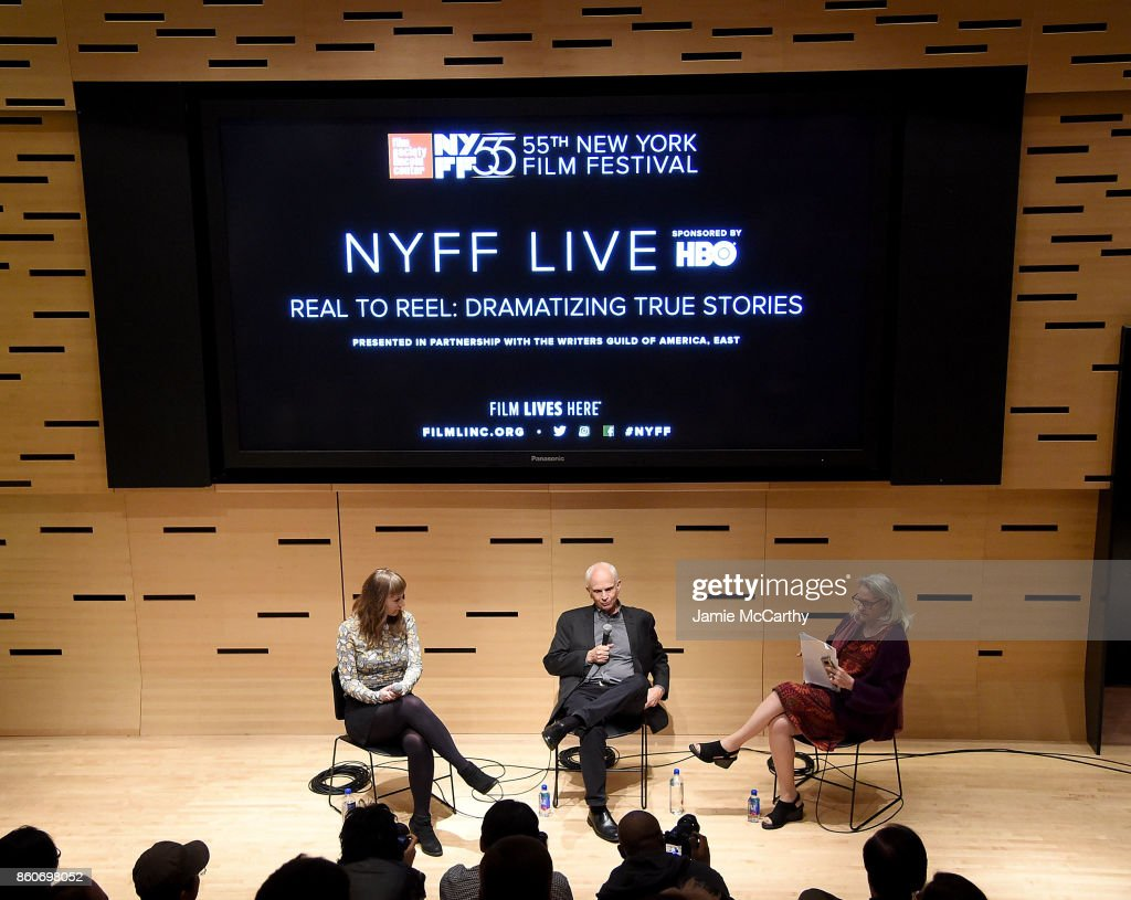 Emily Gordon, Michael Koskoff and Thelma Adams attend the 55th New York Film Festival - NYFF Live - WGAE On Writing Talk at Elinor Bunin Munroe Film Center on October 12, 2017 in New York City.