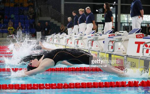 Emily Grant competes in the Women's 50m backstroke during Day Five of the British Swimming Championships at Tollcross International Swimming Centre...
