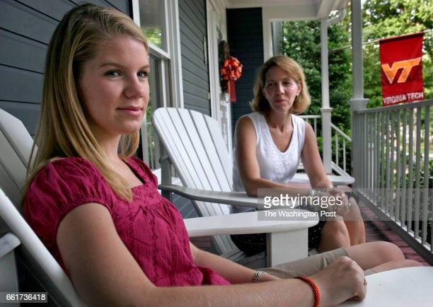 Emily Haas with mother Laura Haas at their home which is adorned with Virginia Tech colors and pride