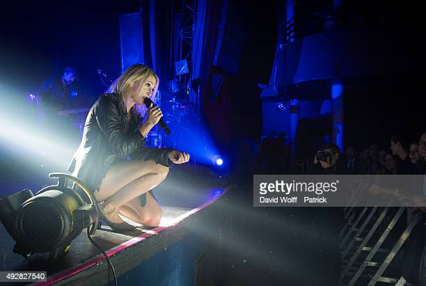 Emily Haines from Metric performs at Le Bataclan on October 15 2015 in Paris France