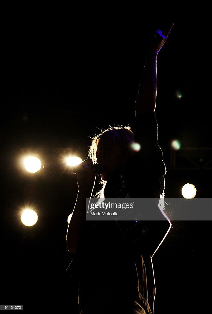 Emily Haines of Metric performs on stage during the Parklife Festival at Kippax Lake on October 4, 2009 in Sydney, Australia.