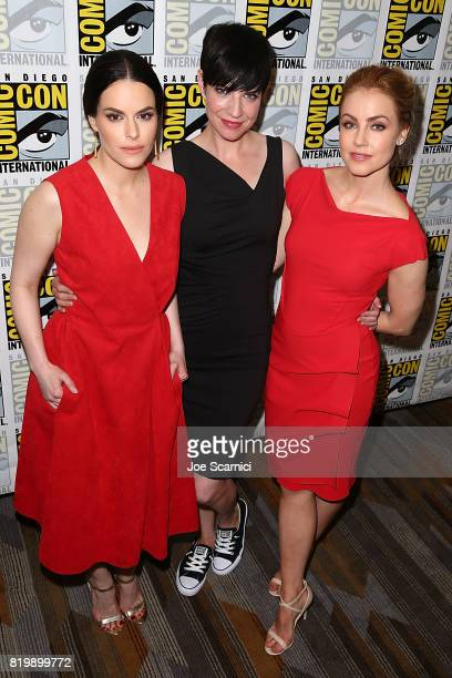 Emily Hampshire Alisen Down and Amanda Schull attend the '12 Monkeys' press line at ComicCon International 2017 on July 20 2017 in San Diego...