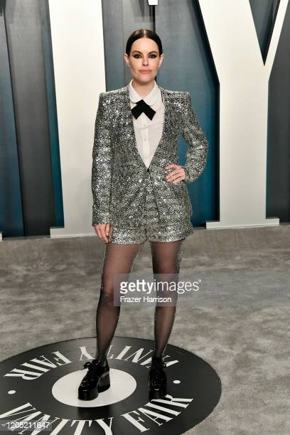 Emily Hampshire attends the 2020 Vanity Fair Oscar Party hosted by Radhika Jones at Wallis Annenberg Center for the Performing Arts on February 09,...