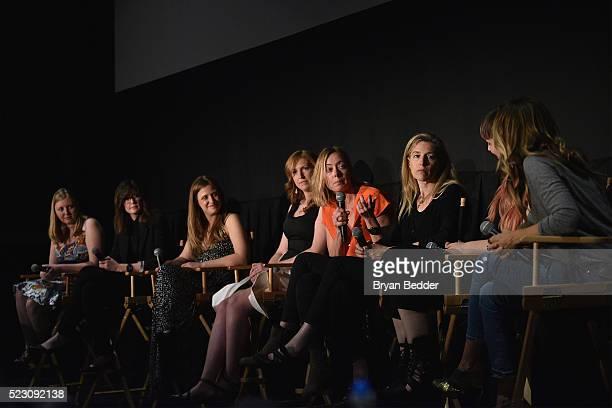 Emily Harrold Erin Sanger Katie Orlinsky Kristin Knight Pace Annie Sundberg Ricki Stern Becca McCharen and Sarah Jessica Parker speak as part of a...