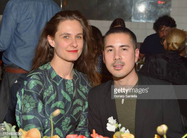 Emily Haven and Job Piston attend Liz Goldwyn and MATCHESFASHIONCOM celebrate the launch of Frieze LA at Gracias Madre on February 13 2019 in West...
