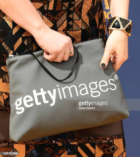Emily Heller bag detail attends the 70th Emmy Awards at Microsoft Theater on September 17 2018 in Los Angeles California