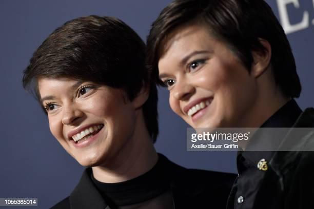 Emily Hinkler and Elizabeth Hinkler attend the premiere of Focus Features' 'Boy Erased' at Directors Guild of America on October 29, 2018 in Los...