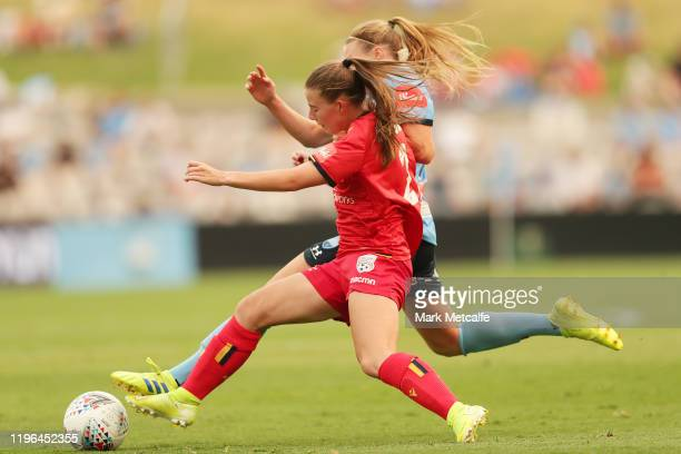 Emily Hodgson of United and Veronica Latsko of Sydney FC compete for the ball during the round 7 W-League match between Sydney FC and Adelaide United...