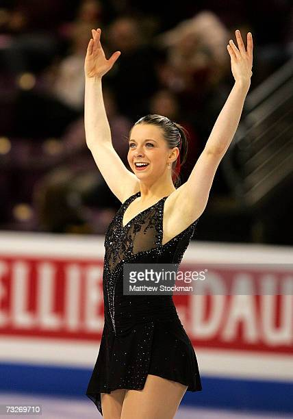 Emily Hughes acknowledges the crowd after competing in the short program during the ISU Four Continents Figure Skating Championships February 8 2007...