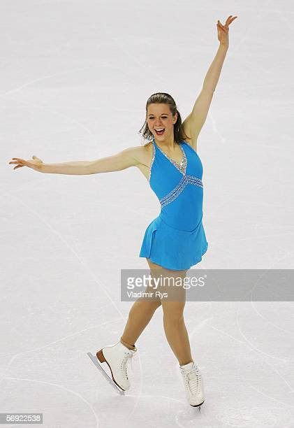 Emily Hughes of the United States performs during the women's Free Skating program of figure skating during Day 13 of the Turin 2006 Winter Olympic...