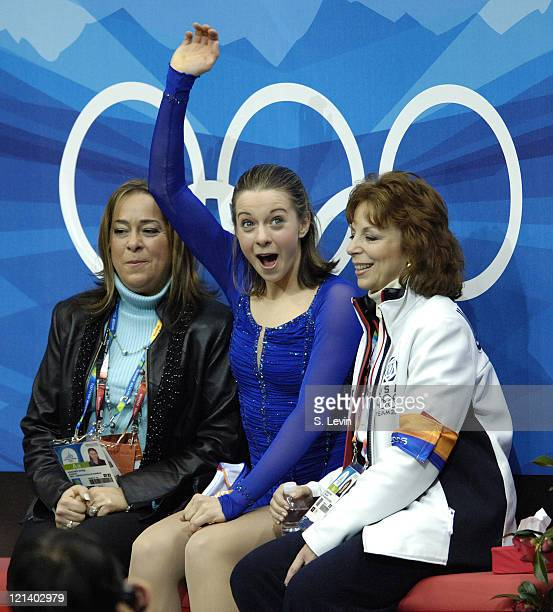 Emily Hughes of the United States with her coach Bonni Retzkin during the Women's Short Program at the 2006 Olympic Games held at the Palavela in...