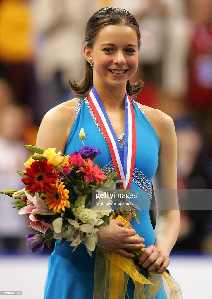 Emily Hughes stands on the podium after receiving the bronze medal at the 2006 State Farm U.S. Figure Championships at the Savvis Center on January 14, 2006 in St. Louis, Missouri.