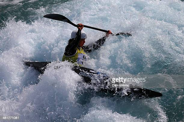 Emily Ibbotson of HPPCC competes in the Women's Kayak during the GB Canoe Slalom 2014 Selection Trials at Lee Valley White Water Centre on March 29...
