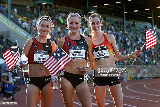 Emily Infeld , Shalane Flanagan and Molly Huddle pose together after winning in the Women's 10,000 meter run during day one of the 2015 USA Outdoor...