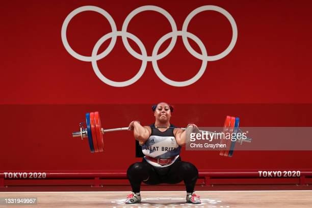 Emily Jade Campbell of Team Great Britain competes during the Weightlifting - Women's 87kg+ Group A on day ten of the Tokyo 2020 Olympic Games at...