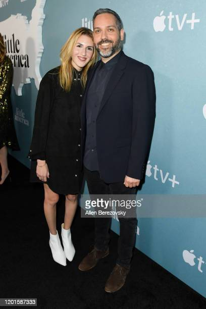 Emily Jane Fox and Lee Eisenberg attend the premiere of Apple TV's Little America at Pacific Design Center on January 23 2020 in West Hollywood...