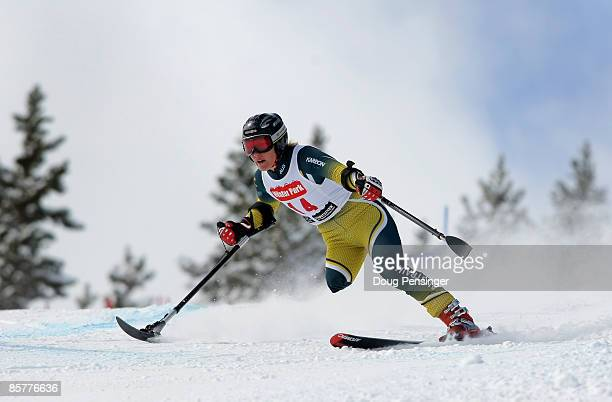 Emily Jansen of Australia skis the Super G portion of the Women's Standing Skier Super Combined at the 2009 US Adaptive Alpine Nationals at the...