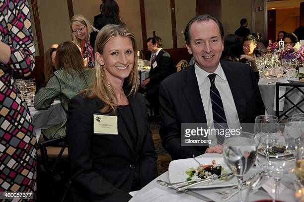 Emily Johnson vice president of the global capital markets division of Morgan Stanley left and James Gorman president and chief executive officer of...