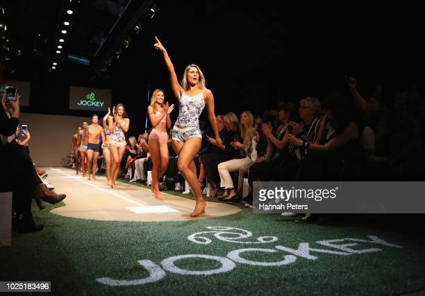 Emily Jones walks the runway during the Jockey show during New Zealand Fashion Week 2018 at Viaduct Events Centre on August 30 2018 in Auckland New...