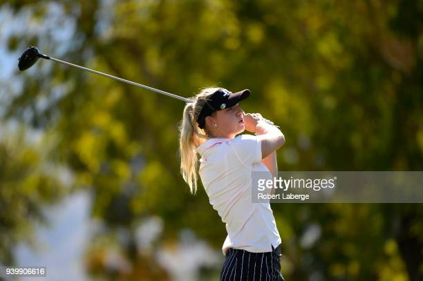 Emily K Pedersen hits a tee shot on the seventh hole during round one of the ANA Inspiration on the Dinah Shore Tournament Course at Mission Hills...