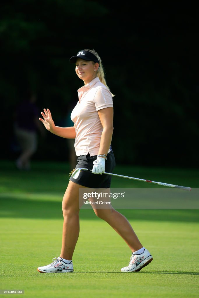 Emily K. Pedersen of Denmark acknowledges the gallery after her third shot on the 15th hole during the second round of the Marathon Classic Presented By Owens Corning And O-I held at Highland Meadows Golf Club on July 21, 2017 in Sylvania, Ohio.