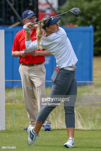 Emily K Pedersen of Denmark hits her tee shot on during the First Round of the Volunteers of America Texas Classic on May 4 2018 at the Old American...