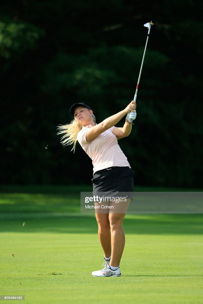 Emily K. Pedersen of Denmark hits her third shot on the 15th hole during the second round of the Marathon Classic Presented By Owens Corning And O-I held at Highland Meadows Golf Club on July 21, 2017 in Sylvania, Ohio.