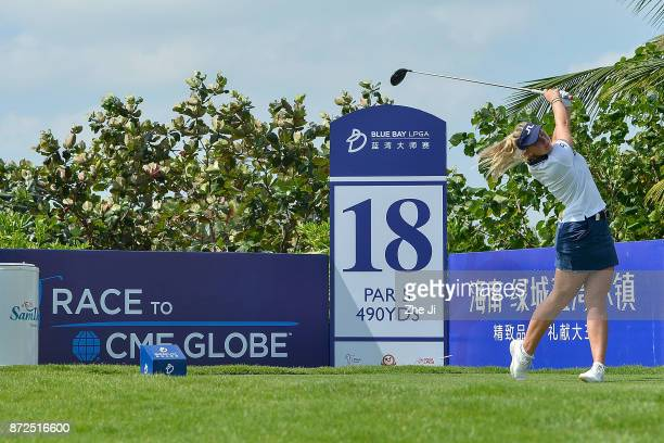 Emily K Pedersen of Denmark plays a shot on the 18th hole during the third round of the Blue Bay LPGA at Jian Lake Blue Bay golf course on November...