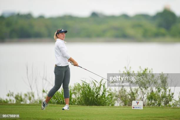 Emily K Pedersen of Denmark plays a tee shot at the second hole during the continuation of the first round of the 2018 Volunteers of America LPGA...
