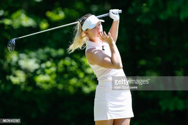 Emily K Pedersen of Denmark watches her tee shot on the fifth hole during the second round of the LPGA Volvik Championship on May 25 2018 at Travis...
