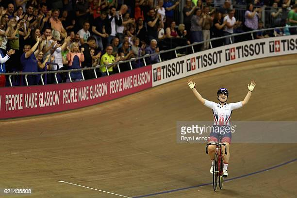 Emily Kay celebrates winning the Women's Omnium during day three of the UCI Track Cycling World Cup at the Sir Chris Hoy Velodrome on November 6 2016...
