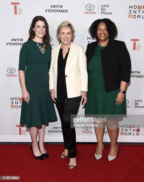 Emily Kennedy journalist Tina Brown and Mia Phillips arrive at the 2018 Women In The World Los Angeles Salon at NeueHouse Hollywood on February 13...