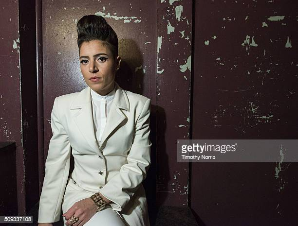 Emily King poses for a photograph backstage at The Troubadour on February 9 2016 in West Hollywood California