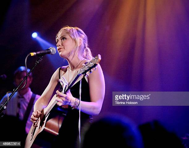 Emily Kinney performs at her record release party for 'This Is War' at the Troubadour on September 23 2015 in West Hollywood California
