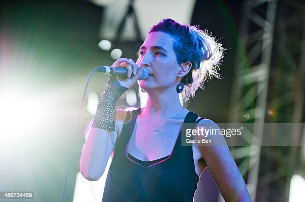 Emily Kokal of Warpaint performs on stage during Coachella Music Festival on April 12 2014 in Coachella United States