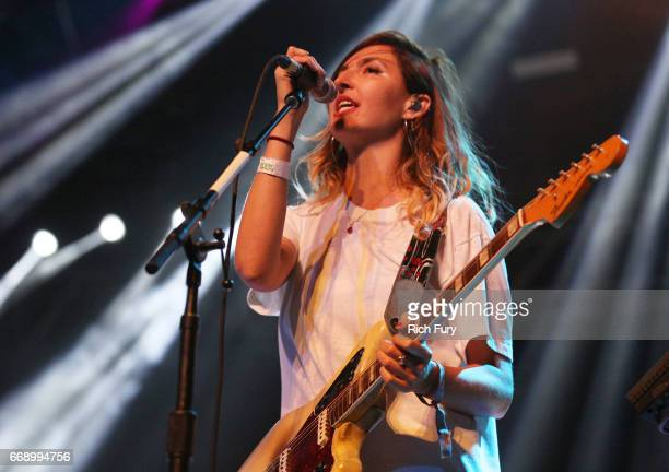 Emily Kokal of Warpaint performs onstage at the Gobi tent during day 2 of the Coachella Valley Music And Arts Festival at Empire Polo Club on April...