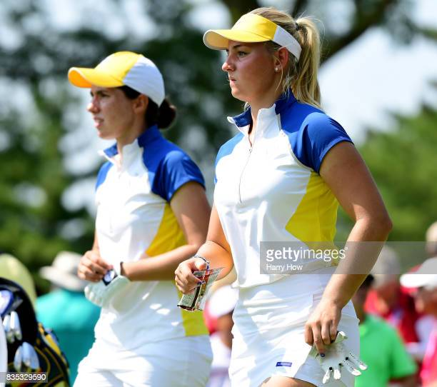 Emily Kristine Pedersen and Carlota Ciganda of Team Europed uring the afternoon fourball matches of the Solheim Cup at the Des Moines Golf and...