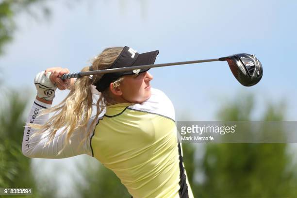 Emily Kristine Pedersen of Denmark hits her tee shot on the 9th hole during day one of the ISPS Handa Australian Women's Open at Kooyonga Golf Club...