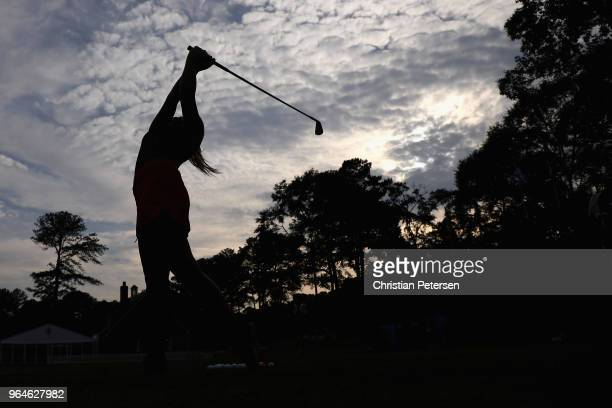 Emily Kristine Pedersen of Denmark practices on the range following the first round of the 2018 US Women's Open at Shoal Creek on May 31 2018 in...