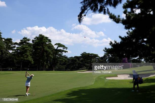 Emily Kristine Pedersen of Team Denmark plays her second shot on the 15th hole during the first round of the Women's Individual Stroke Play on day...